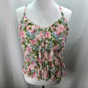 Abercrombie & Fitch Camisole Shirt, Tiered Ruffle, Floral Pink Green, Size Small